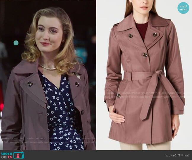 London Fog Hooded Double Collar Belted Water-Resistant Raincoat worn by Becky Monreaux (Olivia Macklin) on Filthy Rich