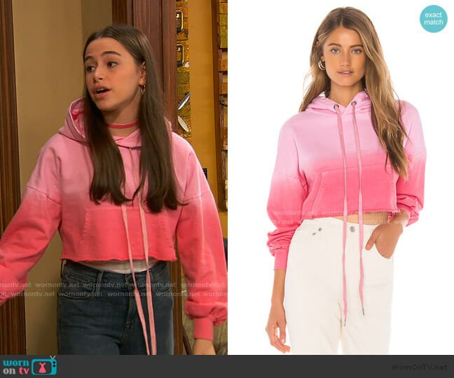 Sammy Cropped Hoodie by Lovers + Friends worn by Tess O'Malley (Sky Katz) on Ravens Home