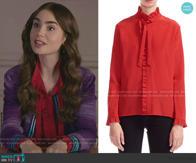 Carma Ruffled Bow Silk Blouse by Maje worn by Emily Cooper (Lily Collins) on Emily in Paris