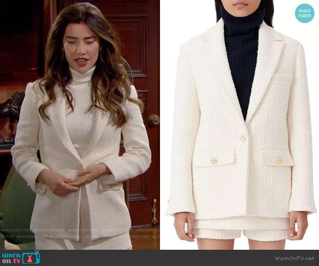 Maje Vandra Wool Tweed Blazer worn by Steffy Forrester (Jacqueline MacInnes Wood) on The Bold & the Beautiful