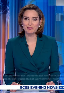 Margaret Brennan's teal double breasted blazer on CBS Evening News