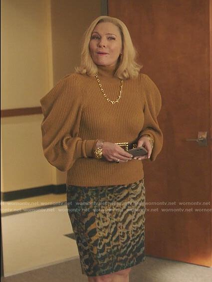 Margaret's mustard yellow balloon sleeve sweater on Filthy Rich