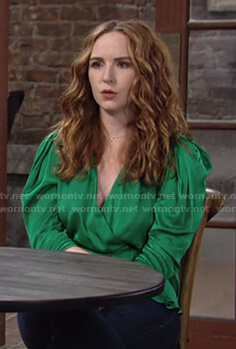Mariah's green wrap satin top on The Young and the Restless