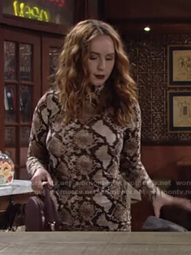 Mariah's snake print mock neck dress on The Young and the Restless