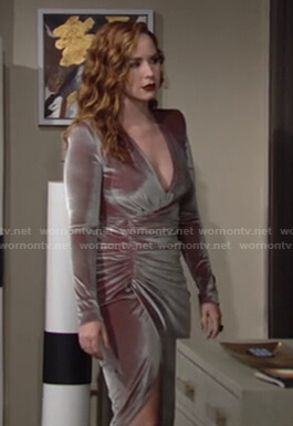 Mariah's gathered velvet gown on The Young and the Restless