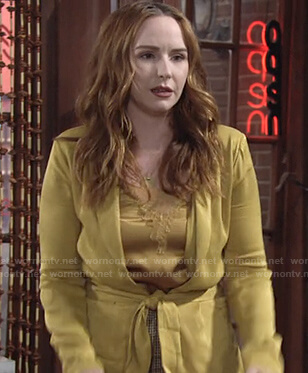 Mariah's yellow lace top and tie waist jacket on The Young and the Restless