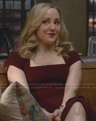 Marissa's burgundy squre neck dress on Bull