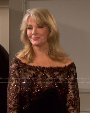 Marlena's brown sequin off-shoulder dress on Days of our Lives