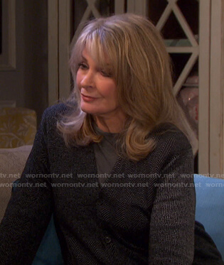 Marlena's grey herringbone cardigan on Days of our Lives