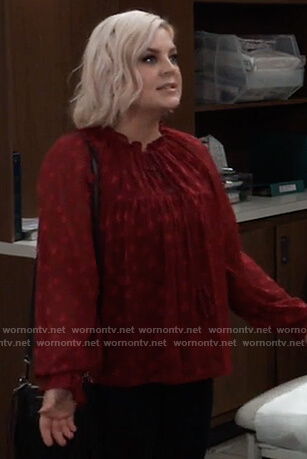 Maxie's red star embroidered blouse on General Hospital