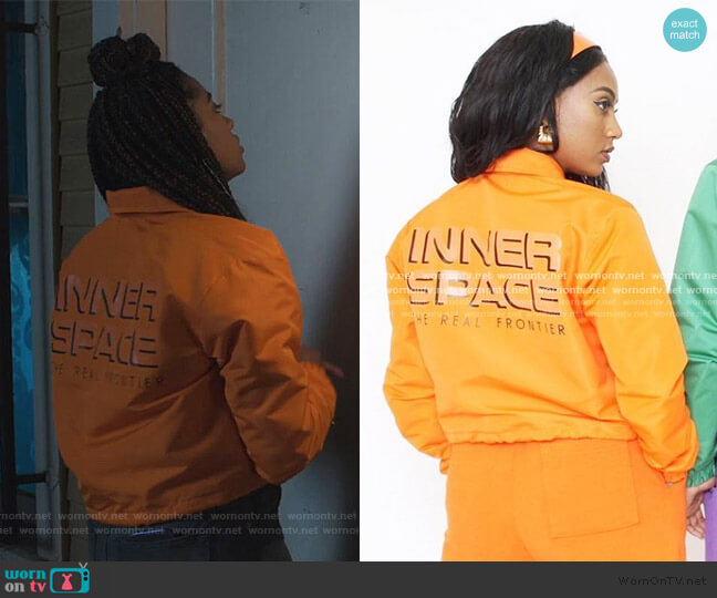 Inner Space Jacket by Melody Ehsani worn by Aisha (Alycia Pascual-Pena) on Saved By The Bell