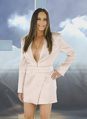 Meredith's pink blazer mini dress on The Real Housewives of Salt Lake City