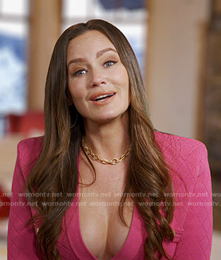 Meredith's pink v-neck dress on The Real Housewives of Salt Lake City