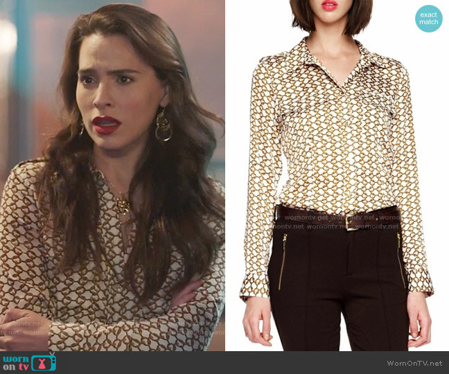 MICHAEL Michael Kors Durham Chain Blouse worn by Ginger Sweet (Melia Kreiling) on Filthy Rich