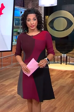 Michelle's three quarter sleeve colorblock dress on CBS This Morning
