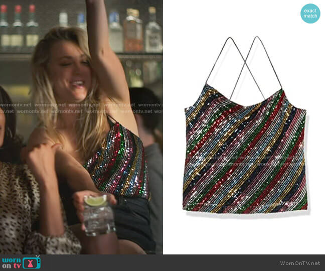 Milly Gia Cowel Neck Cami worn by Cassie Bowden (Kaley Cuoco) on The Flight Attendant