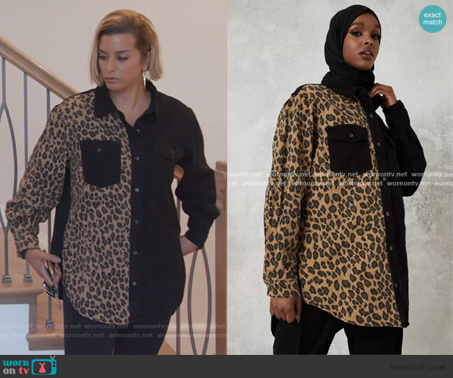 Black super oversized leopard print panel shirt by MissGuided worn by Robyn Dixon  on The Real Housewives of Potomac