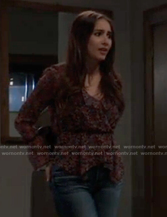 Molly's black floral peplum blouse on General Hospital
