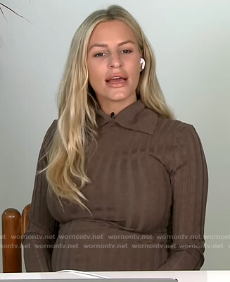 Morgan's brown ribbed collared sweater on E! News Daily Pop