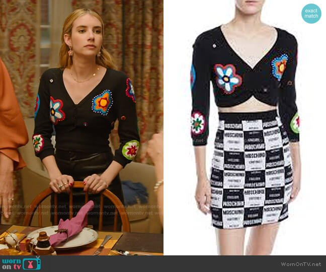 Moschino Flower Patch Shrug Cardigan worn by Sloan (Emma Roberts) on Holidate (2020)