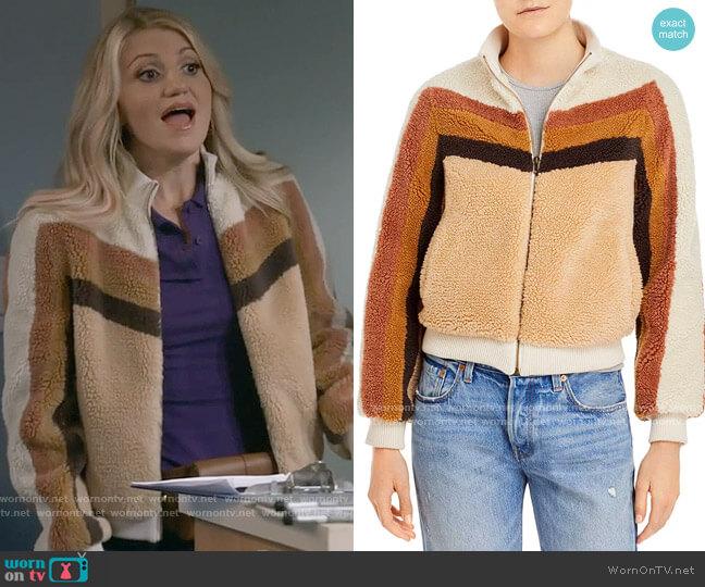 Mother Striped Sherpa Jacket worn by Gina Dabrowski (Annaleigh Ashford) on B Positive