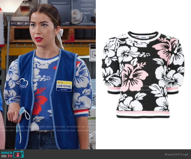 Floral Knitted Top by MSGM worn by Cheyenne (Nichole Bloom) on Superstore