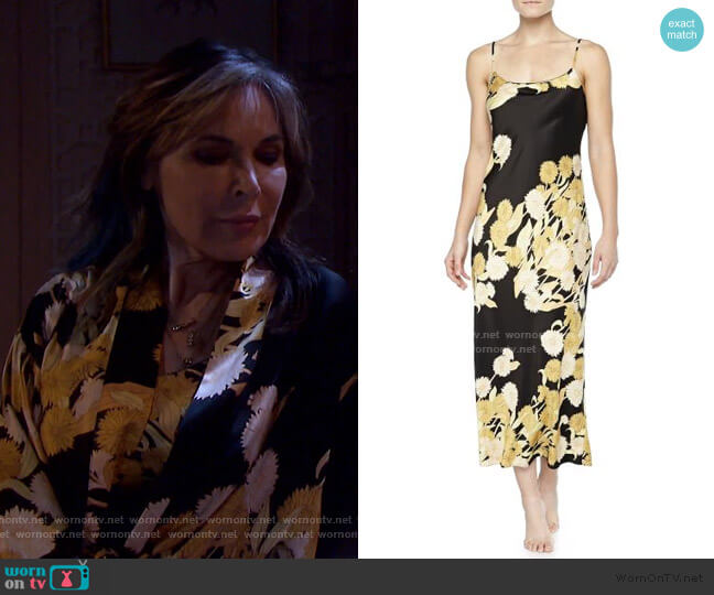 Irina Floral-Print Long Gown by Natori worn by Kate Roberts (Lauren Koslow) on Days of our Lives