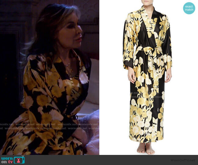 Irina Floral-Print Long Robe by Natori worn by Kate Roberts (Lauren Koslow) on Days of our Lives