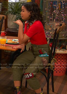 Nia's khaki patch cargo pants on Ravens Home