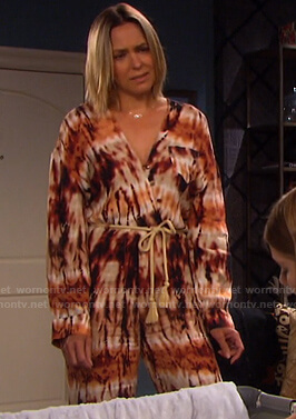 Nicole's tie dye jumpsuit on Days of our Lives