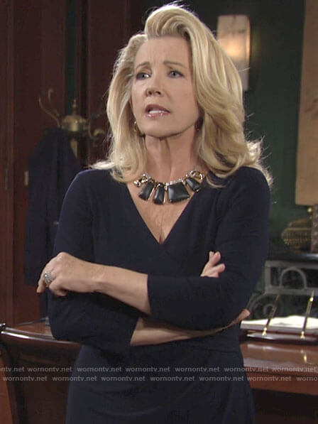 Nikki's black statement necklace on The Young and the Restless