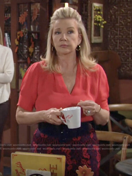 Nikki's coral blouse and lace skirt on The Young and the Restless