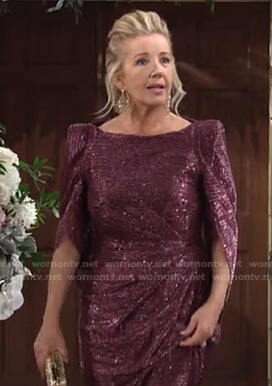 Nikki's metallic cape sleeve gown at Abby's wedding on The Young and the Restless