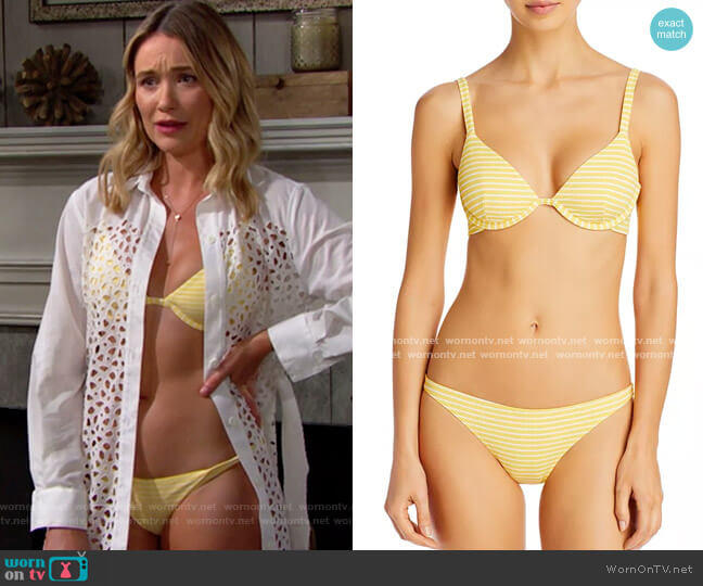 Onia Anna Striped Bikini Top and Ashley Bottoms worn by Florence (Katrina Bowden) on The Bold & the Beautiful