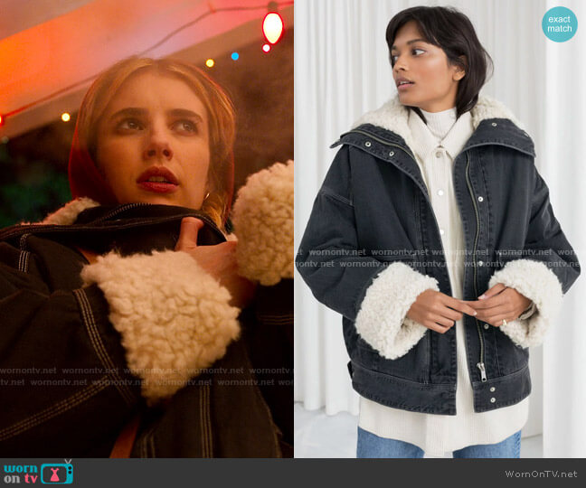 & Other Stories Faux Shearling Coat worn by Sloan (Emma Roberts) on Holidate (2020)