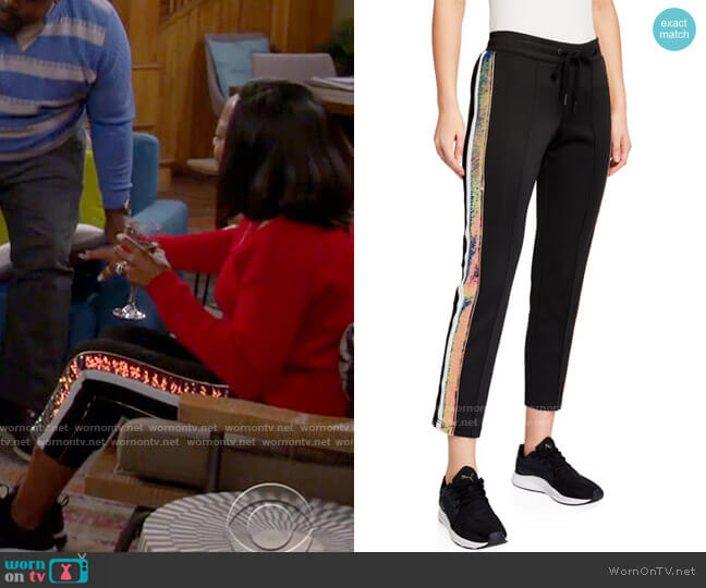 Pam & Gela Sequined-Stripe Cropped Track Pants worn by Tina (Tichina Arnold) on The Neighborhood