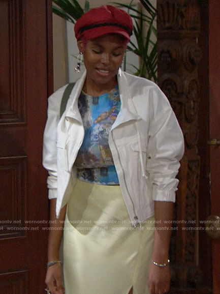 Paris's blue Y2K print top, white jacket, and yellow slip skirt on The Bold and the Beautiful