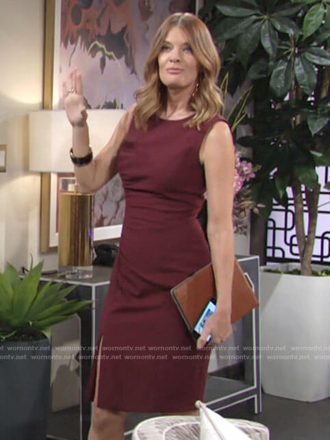 Phyllis's red side-ruched dress on The Young and the Restless