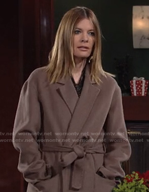 Phyllis's brown wrap coat on The Young and the Restless