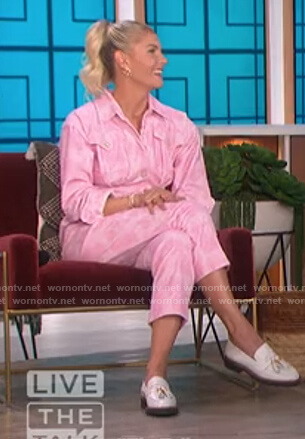 Amanda Kloots pink denim tie dye jumpsuit on The Talk