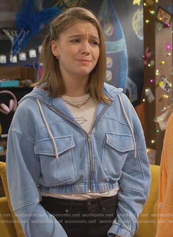 Presley's blue cropped sweatshirt on Side Hustle