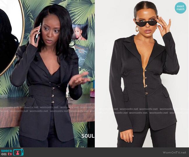 Pretty Little Thing Corset Woven Blazer worn by Karen Mott (Ebony Obsidian) on Tyler Perrys Sistas