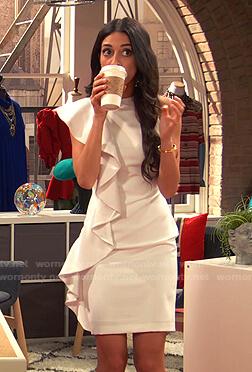 Priya's white ruffle mini dress on Ravens Home
