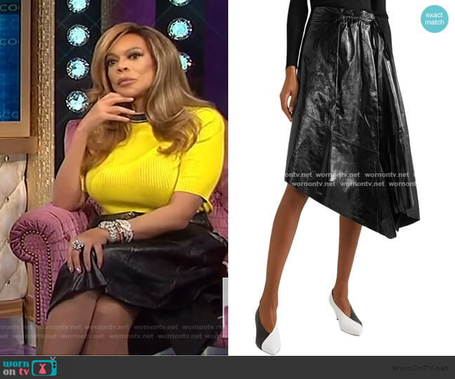 Asymmetric crinkled glossed-leather midi skirt by Proenza Schouler worn by Wendy Williams  on The Wendy Williams Show