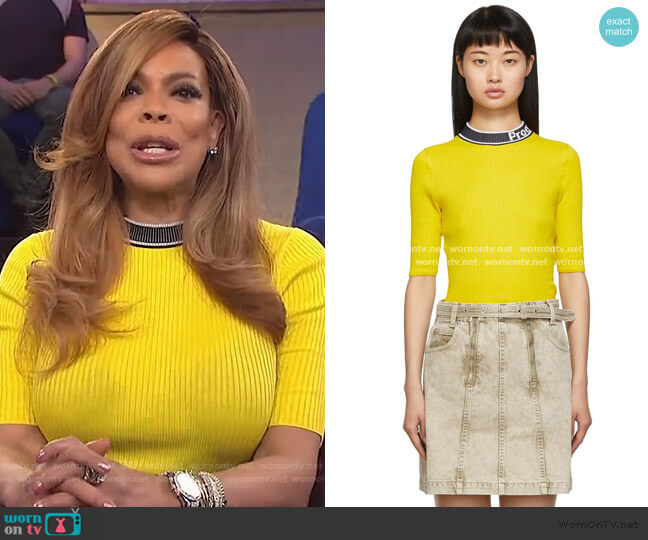 Yellow & Black PSWL Knit Combo T-Shirt by Proenza Schouler worn by Wendy Williams  on The Wendy Williams Show