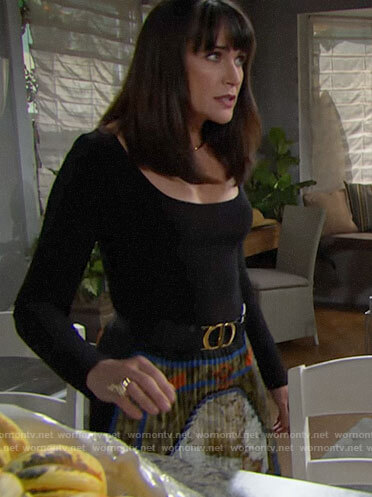 Quinn's black top and pleated skirt on The Bold and the Beautiful