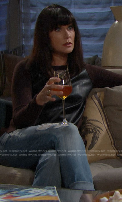 Quinn's leather front sweater on The Bold and the Beautiful