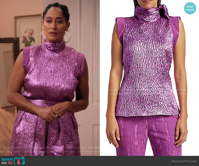 Mirar Jacquard Metallic Tie-Neck Top by Rachel Comey worn by Rainbow Johnson (Tracee Ellis Ross) on Blackish