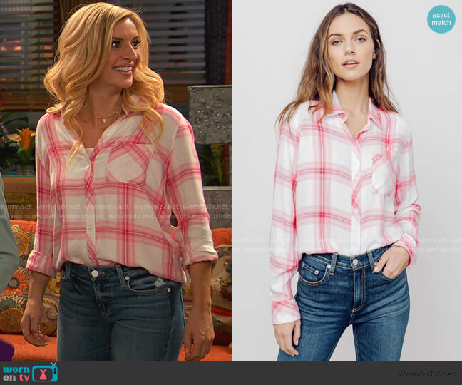 Breast Cancer Awareness Hunter Button Down by Rails worn by Chelsea Grayson (Anneliese van der Pol) on Ravens Home