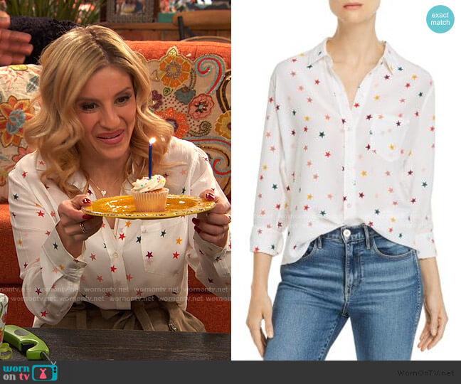 Kate Star Print Silk Shirt by Rails worn by Chelsea Grayson (Anneliese van der Pol) on Ravens Home